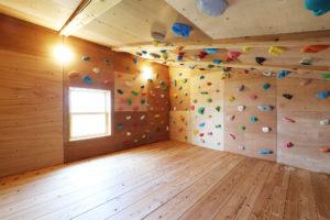 犬山のゼロエネルギーハウスボルダリングの部屋